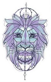 Symmetrical lion machine embroidery design