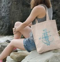 tote bag embroidered with anchor design