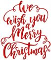 We wish you a merry Christmas embroidery design