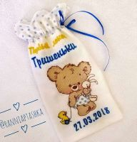 Bag with Teddy bear embroidery for first curl of the newborn