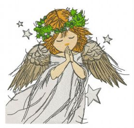 Praying angel machine embroidery design