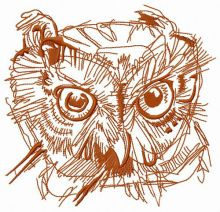 Wild owl head one color
