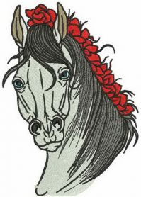 Horse with a knitted mane machine embroidery design
