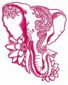 Indian elephant with lotus 3 embroidery design