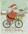 Santa cycling embroidery design