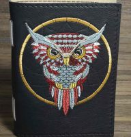 Notepad with owl dreamcatcher embroidery design