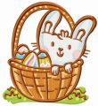 Easter bunny in basket embroidery design