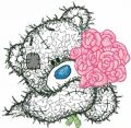 Teddy Bear with rose applique embroidery design