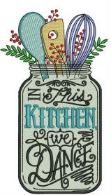 In this kitchen we dance machine embroidery design