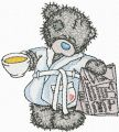 Teddy Bear favorite tea and evening newspaper embroidery design
