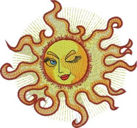 Sun free machine embroidery design
