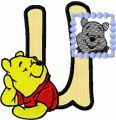 Winnie Pooh loves his portrait letter U embroidery design