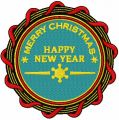 Happy New Year badge embroidery design