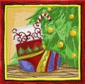Christmas sock under Christmas tree embroidery design