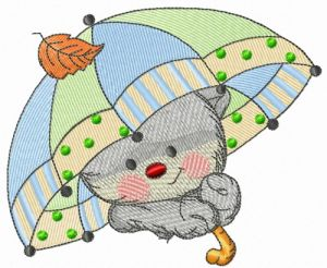 Kitten with umbrella