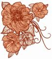 Big rose flowers 2 embroidery design