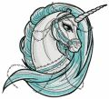 Moonlight unicorn embroidery design