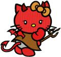 Hello Kitty Devil embroidery design