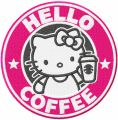 Hello kitty coffee embroidery design