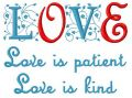 Love is patient, love is kind embroidery design