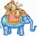Teddy Bear and Elephant  embroidery design