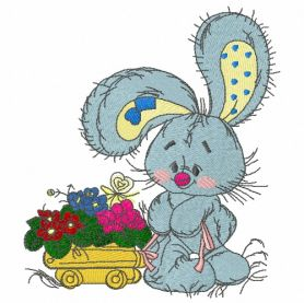 Bunny the florist machine embroidery design