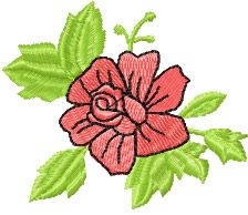 Small Rose free machine embroidery design