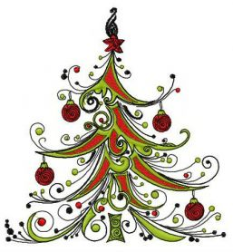 Fancy Christmas tree machine embroidery design