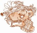 Rustic bear with honey pot 3 embroidery design