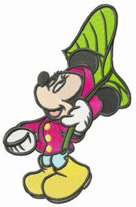 Minnie Mouse with leaf umbrella