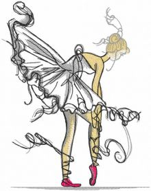 Ballerina dressing pointe embroidery design