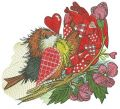 European robin with Valentine embroidery design