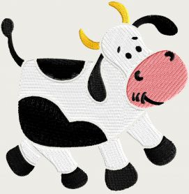 Cow free machine embroidery design