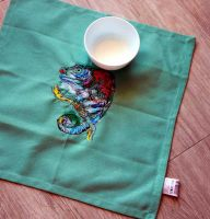 Kitchen cotton napkin with water color embroidery