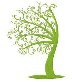Green tree 2 machine embroidery design