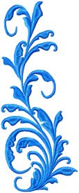 Blue Flowers element machine embroidery design