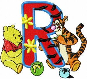 Winnie Pooh and Tigger painting Alphabet Letter R