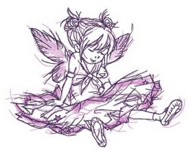 Girl fairy tired after dancing machine embroidery design
