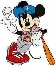 Mickey Mouse playing baseball
