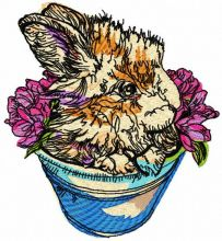 Rabbit in flower pot