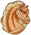 Brown circus horse head embroidery design