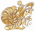 Tiger snail embroidery design