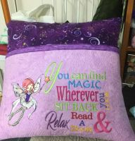 Pillow for girls room with flying fairy machine embroidery