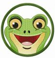 Smiling frog in frame embroidery design