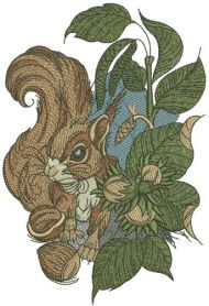 Squirrel with hazelnut machine embroidery design