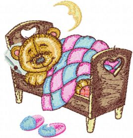 Teddy Bear Sleeping on Bed machine embroidery design