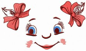 Girl's face machine embroidery design