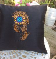 Fashion cushion with Dreamcather embroidery design