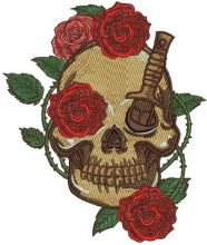 Skull with prickly rose 3