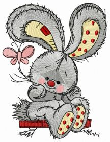 Bunny swinging on teeter 5 machine embroidery design